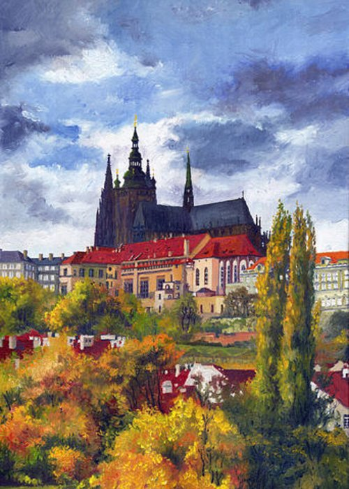 Prague Greeting Card featuring the painting Prague Castle with the Vltava River by Yuriy Shevchuk