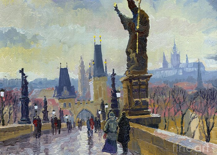 Oil On Canvas Greeting Card featuring the painting Prague Charles Bridge 04 by Yuriy Shevchuk