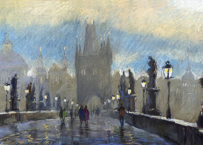 Pastel Greeting Card featuring the pastel Prague Charles Bridge 06 by Yuriy Shevchuk