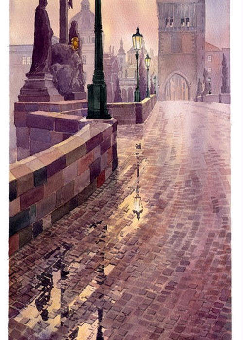 Watercolour Greeting Card featuring the painting Prague Charles Bridge Night Light by Yuriy Shevchuk