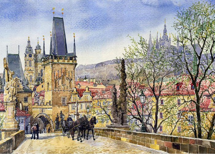 Watercolour Greeting Card featuring the painting Prague Charles Bridge Spring by Yuriy Shevchuk