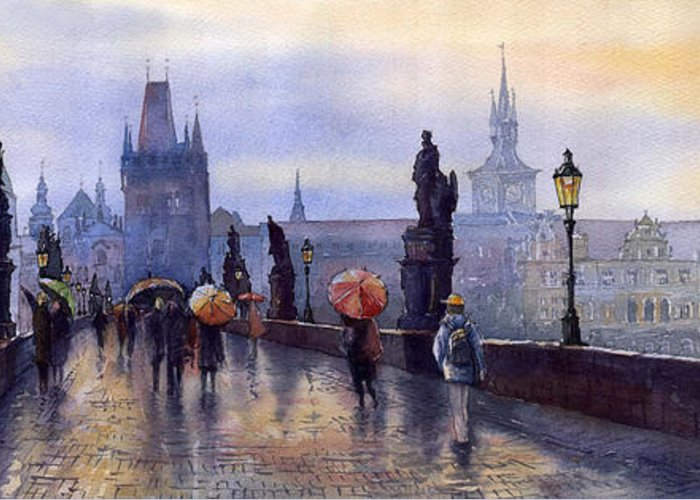 Cityscape Greeting Card featuring the painting Prague Charles Bridge by Yuriy Shevchuk
