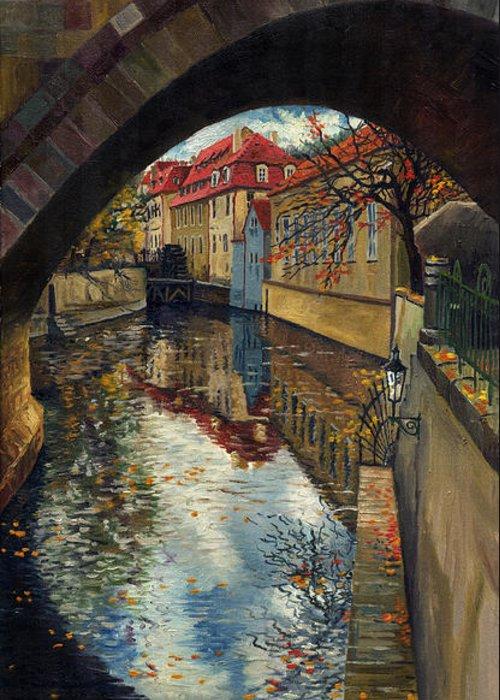 Oil Greeting Card featuring the painting Prague Chertovka 3 by Yuriy Shevchuk