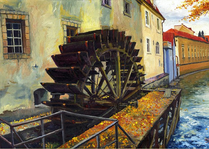 Prague Greeting Card featuring the painting Prague Chertovka by Yuriy Shevchuk