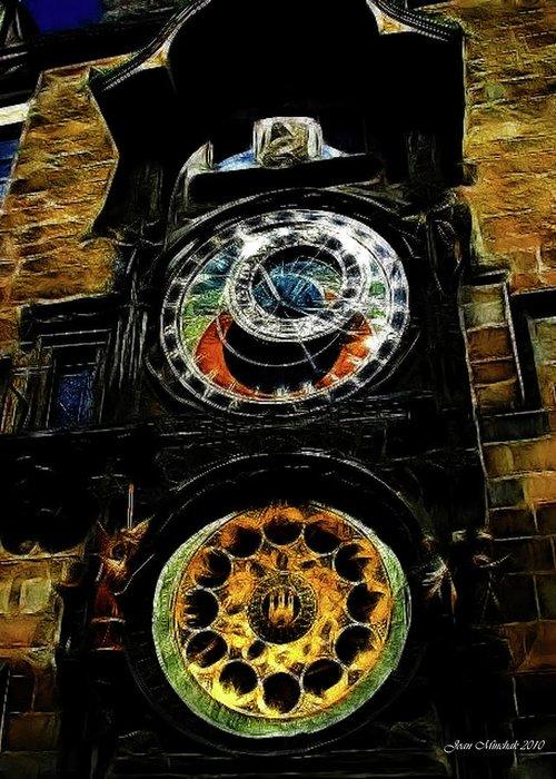 Prague Greeting Card featuring the digital art Prague Clock by Joan Minchak