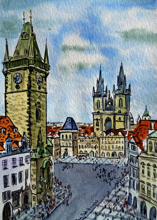 Prague Greeting Card featuring the painting Prague Czech Republic by Irina Sztukowski