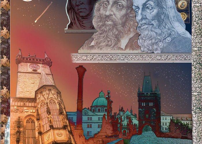 Prague Greeting Card featuring the digital art Prague Daydream by John Scariano