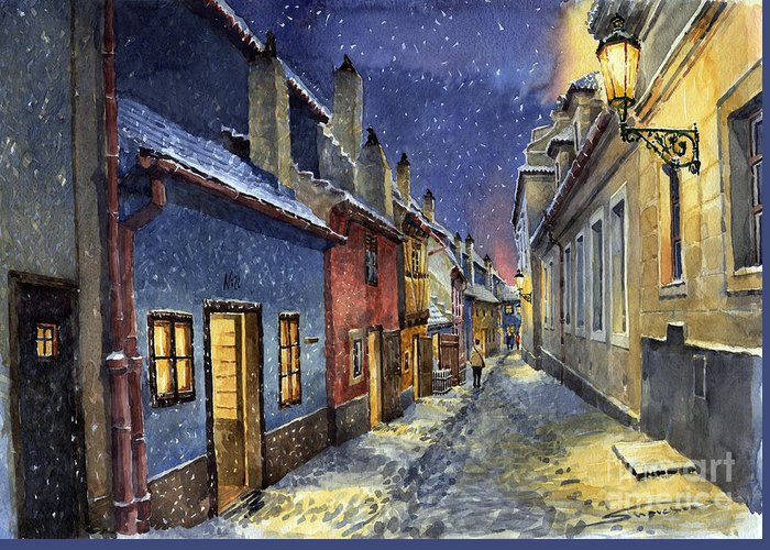 Goldenline Greeting Card featuring the painting Prague Golden Line Winter by Yuriy Shevchuk