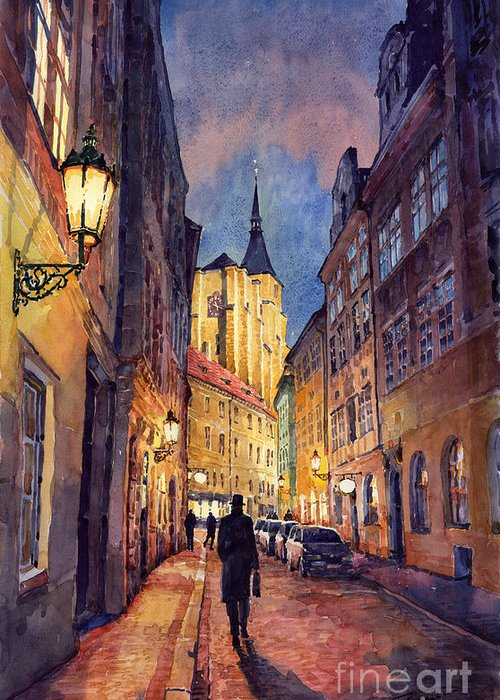 Architecture Greeting Card featuring the painting Prague Husova Street by Yuriy Shevchuk