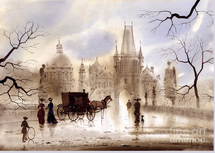 Prague Greeting Card featuring the painting Prague IIi by Svetlana and Sabir Gadghievs