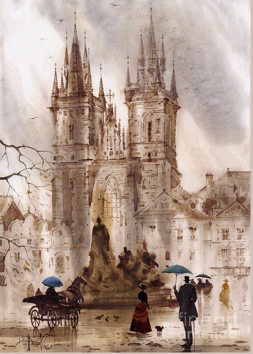 Prague Greeting Card featuring the painting Prague Iv by Svetlana and Sabir Gadghievs