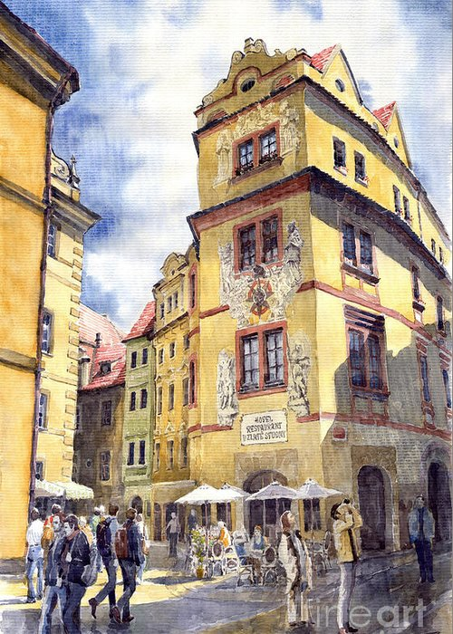 Architecture Greeting Card featuring the painting Prague Karlova Street Hotel U Zlate Studny by Yuriy Shevchuk