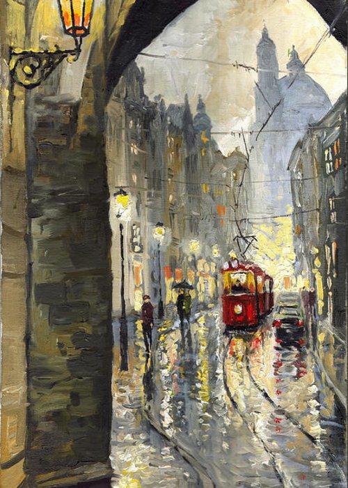 Prague Greeting Card featuring the painting Prague Mostecka Street by Yuriy Shevchuk