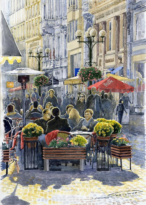 Watercolor Greeting Card featuring the painting Prague Mustek First Heat by Yuriy Shevchuk