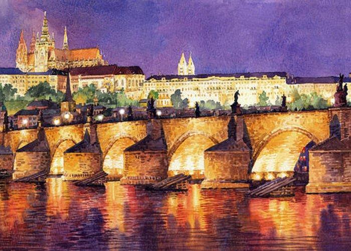 Watercolour Greeting Card featuring the painting Prague Night Panorama Charles Bridge by Yuriy Shevchuk