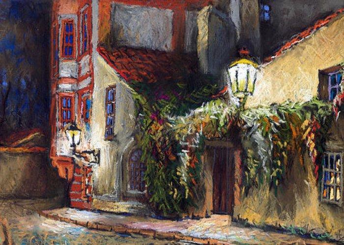 Prague Greeting Card featuring the painting Prague Novy Svet Kapucinska str by Yuriy Shevchuk