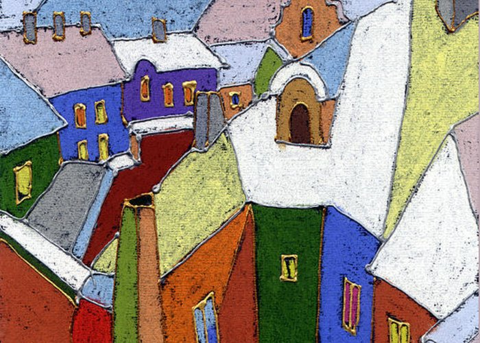 Pastel Greeting Card featuring the painting Prague Old Roofs Winter by Yuriy Shevchuk