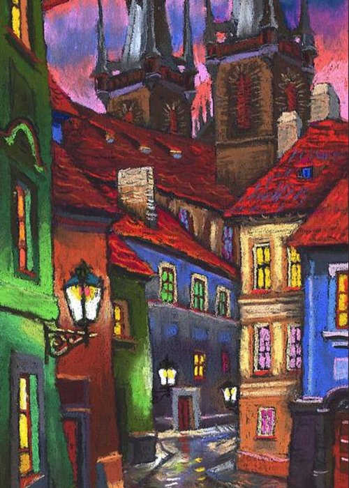 Pastel Greeting Card featuring the painting Prague Old Street 01 by Yuriy Shevchuk