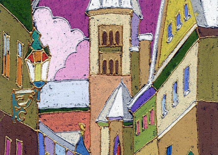 Pastel Greeting Card featuring the painting Prague Old Street Jilska Winter by Yuriy Shevchuk