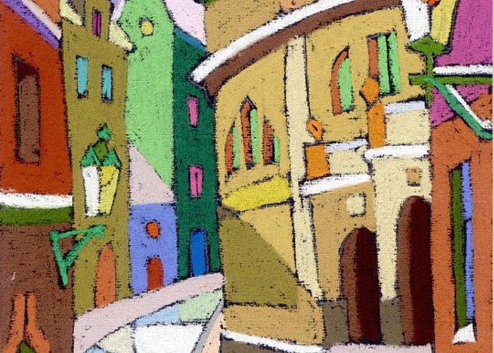 Pastel Greeting Card featuring the painting Prague Old Street Karlova Winter by Yuriy Shevchuk