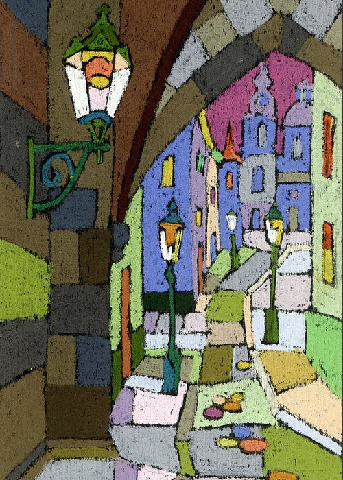Pastel Greeting Card featuring the painting Prague Old Street Mostecka by Yuriy Shevchuk