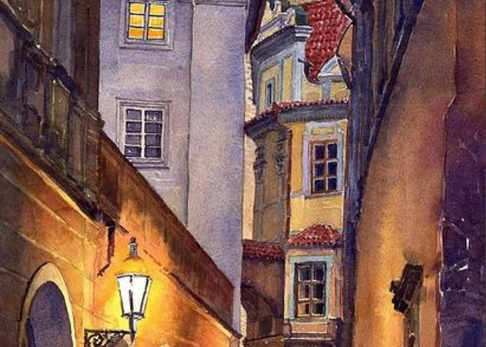 Cityscape Greeting Card featuring the painting Prague Old Street by Yuriy Shevchuk