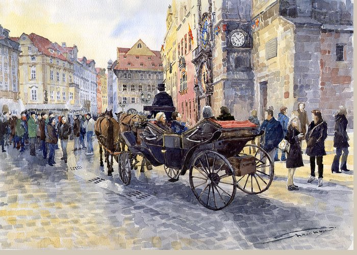 Watercolour Greeting Card featuring the painting Prague Old Town Hall And Astronomical Clock by Yuriy Shevchuk