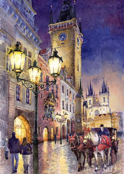 Cityscape Greeting Card featuring the painting Prague Old Town Square 3 by Yuriy Shevchuk