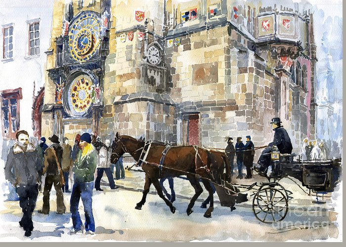 Watercolour Greeting Card featuring the painting Prague Old Town Square Astronomical Clock Or Prague Orloj by Yuriy Shevchuk