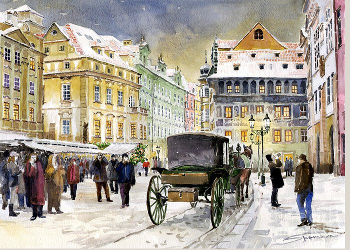 Watercolour Greeting Card featuring the painting Prague Old Town Square Winter by Yuriy Shevchuk