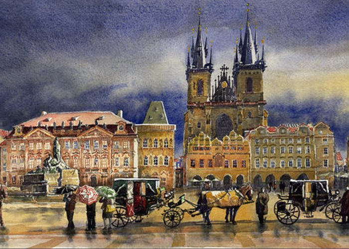 Watercolor Greeting Card featuring the painting Prague Old Town Squere After Rain by Yuriy Shevchuk