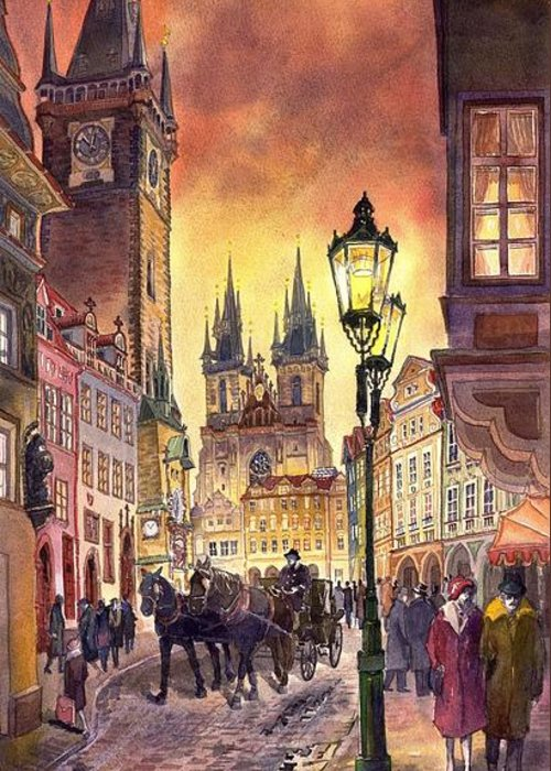 Cityscape Greeting Card featuring the painting Prague Old Town Squere by Yuriy Shevchuk