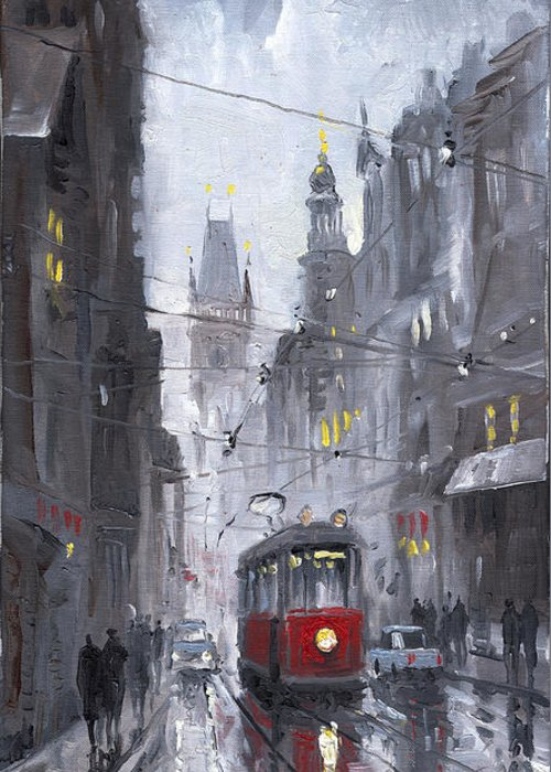 Oil On Canvas Greeting Card featuring the painting Prague Old Tram 03 by Yuriy Shevchuk