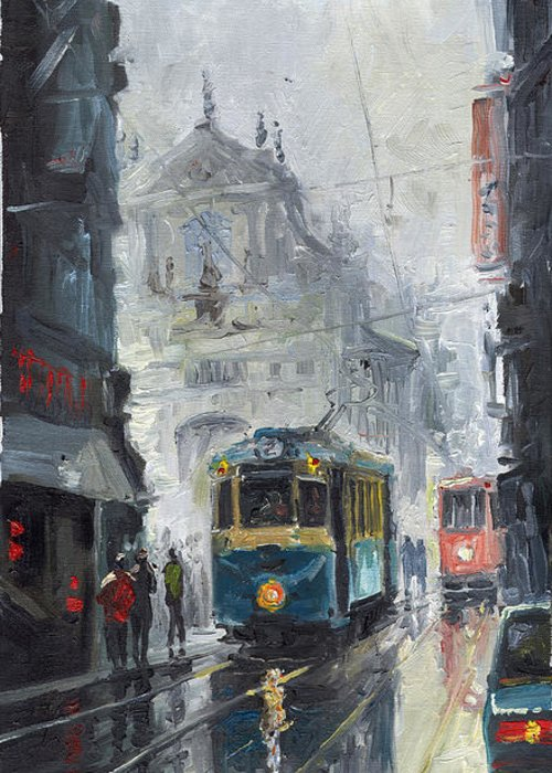Oil On Canvas Greeting Card featuring the painting Prague Old Tram 04 by Yuriy Shevchuk