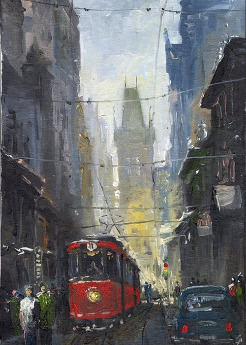 Oil On Canvas Paintings Greeting Card featuring the painting Prague Old Tram 05 by Yuriy Shevchuk