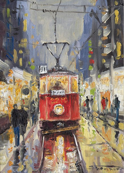 Oil Greeting Card featuring the painting Prague Old Tram 08 by Yuriy Shevchuk