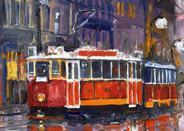Oil Greeting Card featuring the painting Prague Old Tram 09 by Yuriy Shevchuk