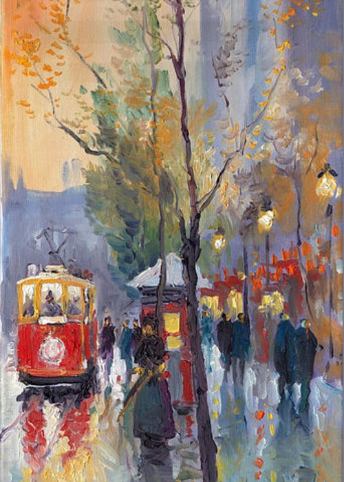 Prague Greeting Card featuring the painting Prague Old Tram Vaclavske Square by Yuriy Shevchuk