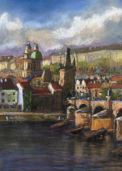 Pastel Greeting Card featuring the painting Prague Panorama Charles Bridge Prague Castle by Yuriy Shevchuk