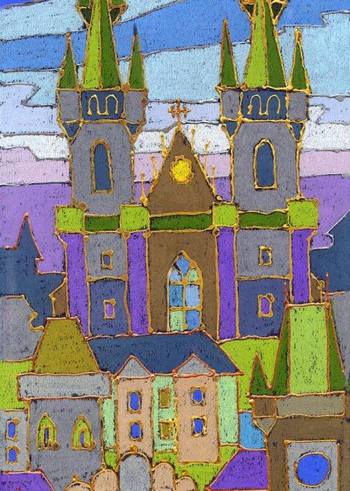 Pastel Greeting Card featuring the painting Prague Panorama by Yuriy Shevchuk
