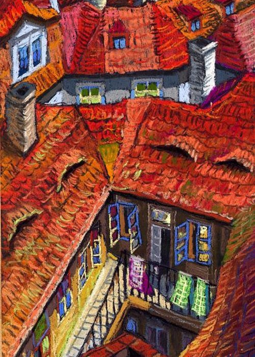 Pastel Greeting Card featuring the painting Prague Roofs 01 by Yuriy Shevchuk