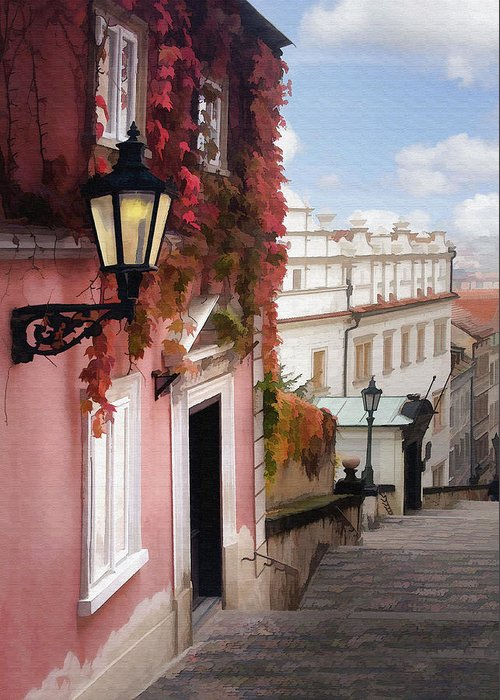 Architecture Greeting Card featuring the photograph Prague Stairs by Sharon Foster