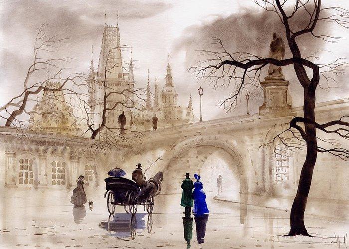 Prague Greeting Card featuring the painting Prague by Svetlana and Sabir Gadghievs
