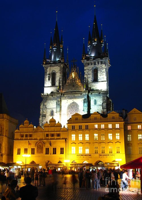 Prague Greeting Card featuring the photograph Prague Tower At Night by Jeff White