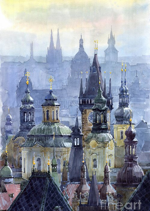 Architecture Greeting Card featuring the painting Prague Towers by Yuriy Shevchuk