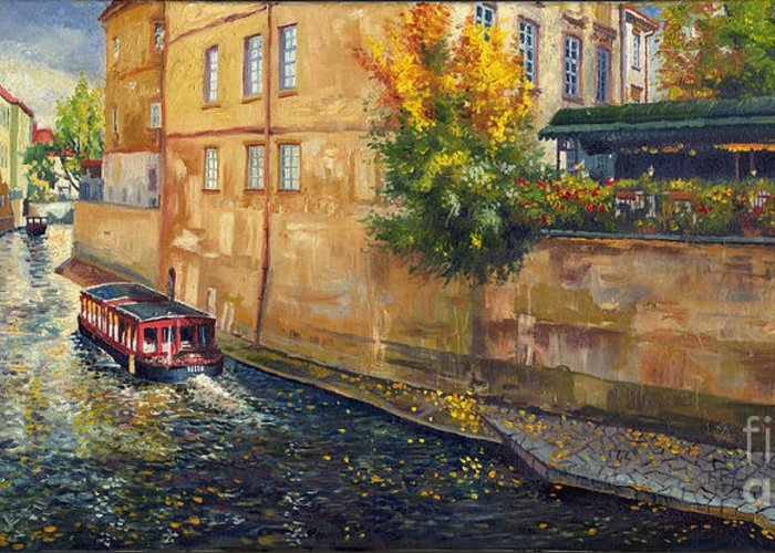 Oil.prague Greeting Card featuring the painting Prague Venice Chertovka 2 by Yuriy Shevchuk