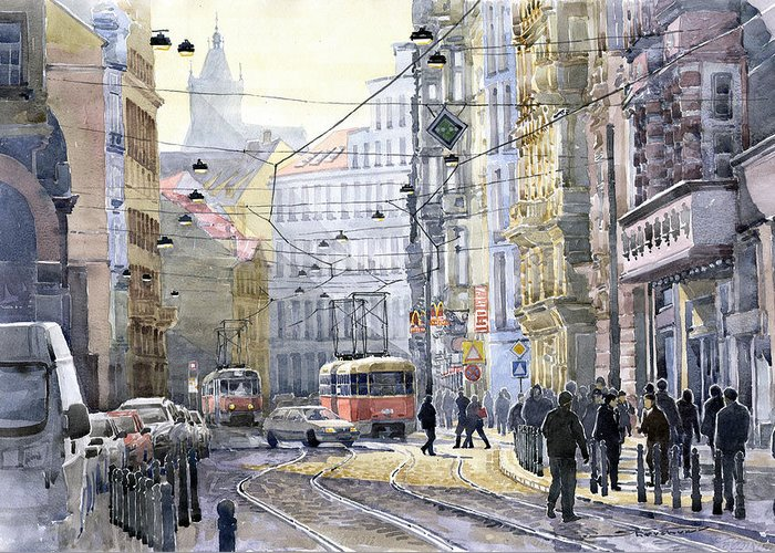 Watercolor Greeting Card featuring the painting Prague Vodickova Str by Yuriy Shevchuk