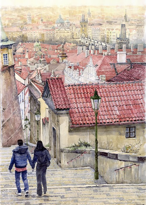 Watercolor Greeting Card featuring the painting Prague Zamecky Schody Castle Steps by Yuriy Shevchuk