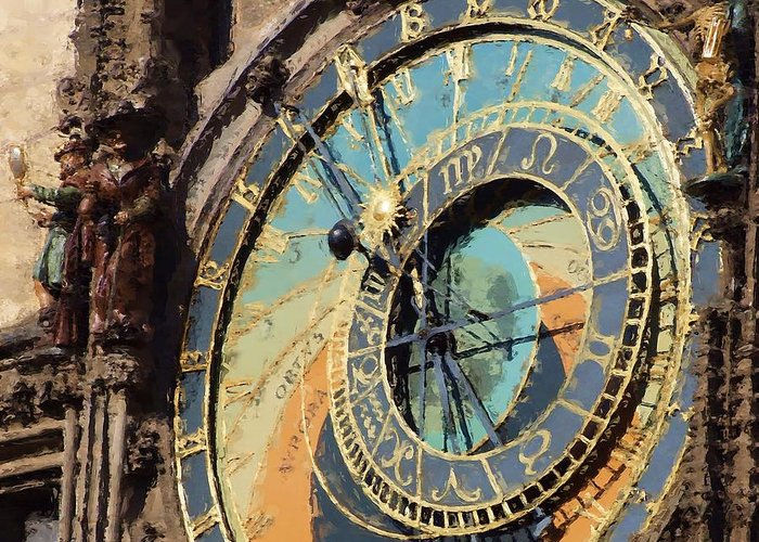Prague Greeting Card featuring the painting Praha Orloj by Shawn Wallwork