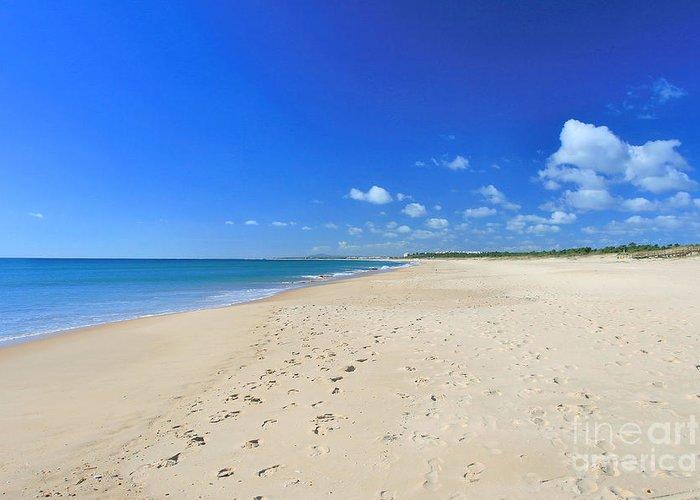 Praia De Monte Gordo Greeting Card featuring the photograph Praia De Monte Gordo by Carl Whitfield